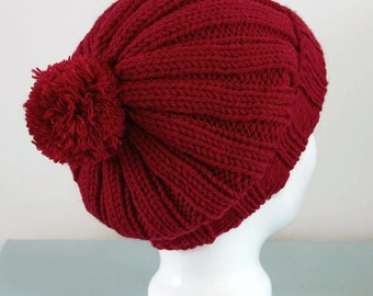 Dark Red Beanie Hat - Maroon Knitted Slouch Ribbed Merino Wool Pom Pom Hat Unisex Winter Gift for Him Gift for Her by Emma Dickie Design