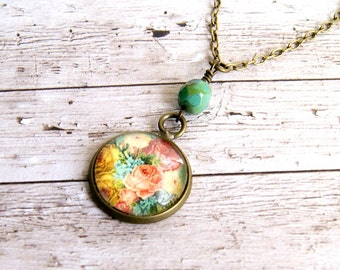 rose bud pendant, pendant necklace, rose jewelry, photo jewelry, romantic jewelry, gift for her