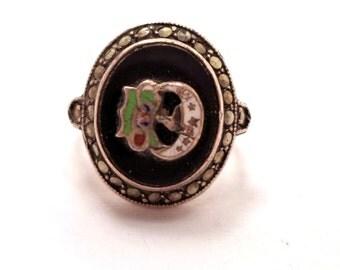 IOOF Daughters of Rebekah Sterling Enamel Marcasite Ring Size 5.5