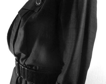 1950s Vintage Black Silk Dress Julius Garfinckel & Company