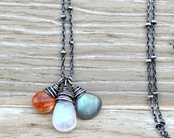 Rainbow Moonstone Necklace - Shimmering Sunstone, Blue Green Labradorite & Flashy Moonstone Pendant, Sun and Moon Gemstone Trio Necklace