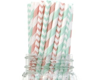 Mint Green Straws Pink Straws, Vintage Wedding, Baby Shower, Kids Birthday Party, Pastel Green, Cake Pop Sticks Made in USA