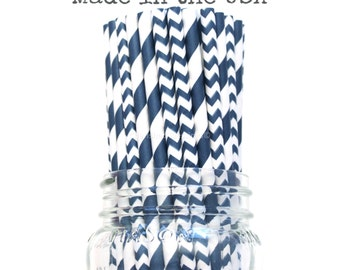 Navy Blue Paper Straws, NavyStraws  Chevron, Vintage Wedding, Baby Shower, Kids Birthday Party, Princess Party Supplies, Table Setting, USA