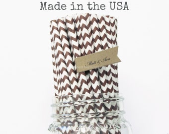 Brown Paper Straws, 50 Chocolate Brown Chevron Straws, Made in USA, Rustic Wedding, Baby Shower, Paper Goods, VIntage Table Setting, Straws