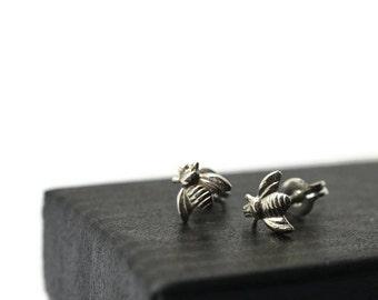 Silver Bee Earrings, Honey Bee Jewelry, Insect Studs, Animal Earrings
