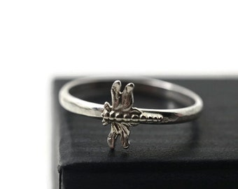 Dainty Dragonfly Ring, Sterling Silver Insect & Nature Charm Jewelry, Custom Engraving, Hammered Band