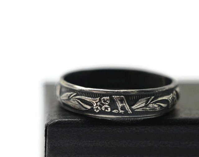 Black Wedding Ring Calla Lily Ring Engraved Wedding by fifthheaven