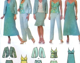 Simplicity 4638 Misses' and Miss Petite Dress or Top, Skirt and Jacket Sewing Pattern - Uncut - Size 14, 16, 18, 20