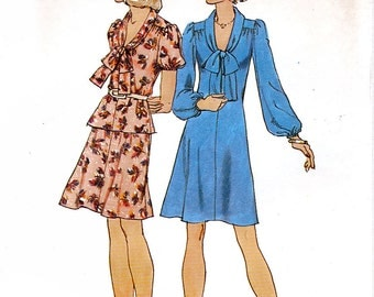 Simplicity 6758 Vintage 70s Misses' Short Dress or Top and Short Skirt Sewing Pattern - Uncut - Size 10 - Bust 32.5