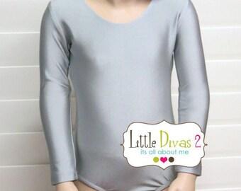 Silver Leotard-Shiny (Child) Long Sleeve Leotard
