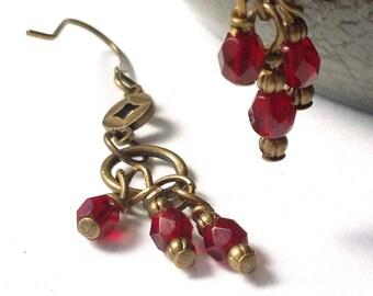 Genuine Garnet Gemstones, Wire Wrapped Brass Bronze Antique Gold Dangle Earrings