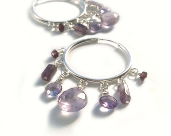 Sterling Silver With Faceted Amethyst Briolettes and Faceted Garnets, Hoop Earrings