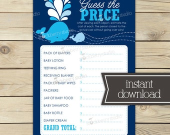 Whale Baby Shower Price Is Right Printable Game -  Navy Blue - Boy Baby Shower Games - Boy Baby Shower Activity - Instant Download