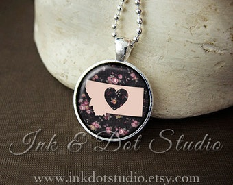 Floral Montana State Necklace, Montana Love Pendant, Montana State Pendant, Montana Gift, Pink Montana State, MT State