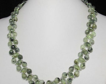 Necklace 19 inch IN Prehnite 8mm faceted and 925 Silver