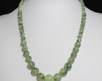 Necklace 20 inch  IN  Prehnite and 925 Silver