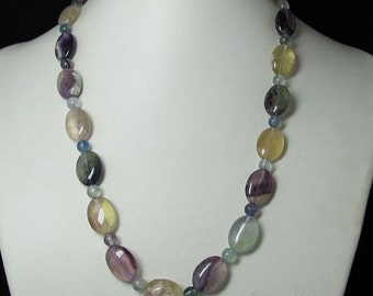 Necklace 20 inch IN Natural Fluorite and 925 Silver