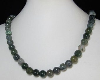 Necklace 20 inch IN moss Agate 10mm and 925er Silver