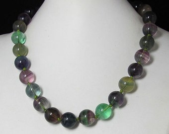 Necklace 18 inch IN Natural Fluorite 14mm and 925 Silver