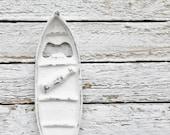 Shabby White Cast Iron Canoe Bottle Opener-New York Loft -Gift For Dad-Lake-Man Cave-Beer Opener-Modern Home Decor-Snow White-Vacation Home