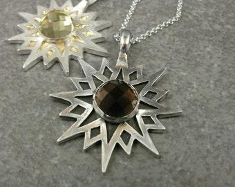 Silver Sun Pendant- Smoky Quartz- Lemon Quartz- PMC Fine Silver Jewelry- Quartz Stone Pendant- 8 Pointed Star Jewelry- 22k Gold- Celestial