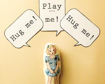 Fabric mini doll - HUG ME blue