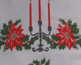 Vintage Christmas Candles Candelabra Red Poinsettias Holly Tablecloth