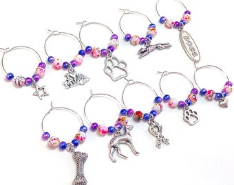 Dog Wine Charms- 10 Greyhound Rescue Wine Tags, Dog Lover, Animal Lover, Dog Bone, Paw Charms, Wine Glass Accessories