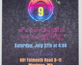Neon Multicolor Head Set- Birthday Party Invitation