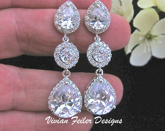 Bridal Earrings Bling Wedding Jewelry Glamorous Cubic Zirconia Prom Earrings Wedding Jewellery