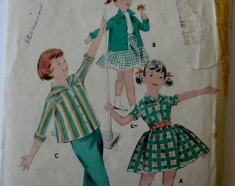 Butterick 7870 Girls 50s Separates Shirt Skirt Pants Sewing Pattern Breast 21 Size 2