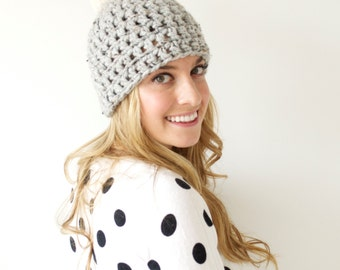 Pom Pom Hat // Crochet Beanie // Crochet Winter Hat // THE ONEIDA HAT