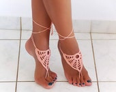 Barefoot sandals, Coral Crochet nude shoes, foot jewelry, victorian lace, sexy, yoga, anklet, bellydance