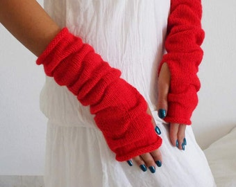 RED long knit fingerless gloves, Mittens, Arm Wrist Warmers. Christmas Gift Ideas For Her, Winter Accessories