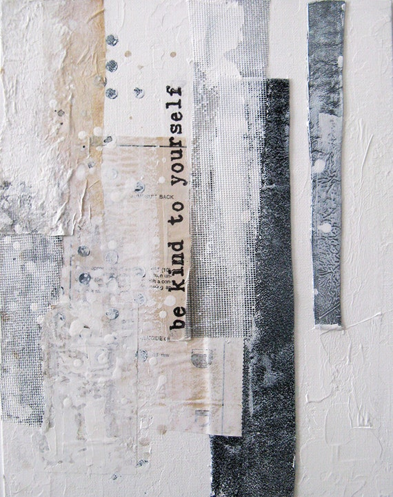Peinture collage sur toile technique mixte avec message - Technique de peinture acrylique sur toile ...