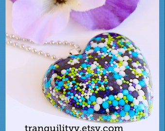 Sprinkle Heart Necklace , Super Galaxy Sweet Sprinkle Resin  Puffy Heart Jumbo Necklace  , Kawaii, Hipster, Scene By: Tranquilityy