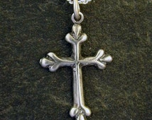 Sterling Silver Byzantine Cross Pendant on a Sterling Silver Chain