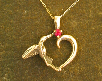 14K Gold and Natural Ruby Hummingbird Heart Pendant on a 14K Gold Chain