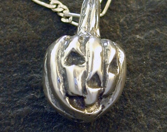 Sterling Silver Jack-o-Lantern Pumpkin Pendant on Sterling Silver Chain.