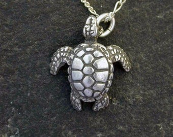 Sterling Silver Sea Turtle Pendant on a Sterling Silver Chain