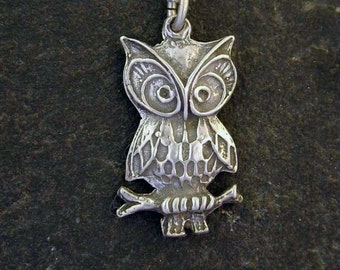 Sterling Silver Owl Pendant on Sterling Silver Chain.