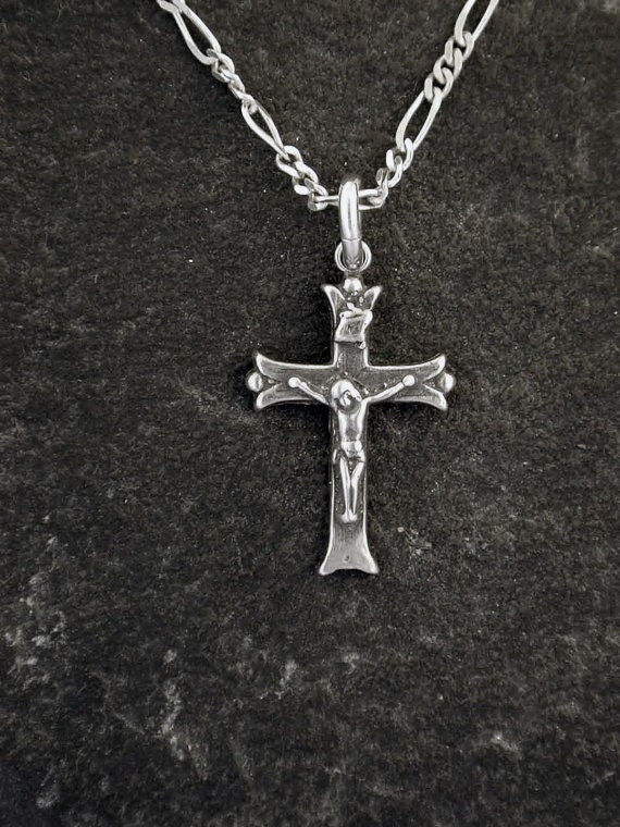 Sterling Silver Crucifix Cross Pendant on Sterling Silver Chain.