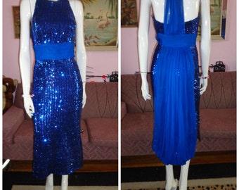 1950's Electric BLUE SEQUIN Halter Wiggle Dress Chiffon Back Drape Glam Bombshell Pin Up Cocktail 28 Waist RockabillyVLV
