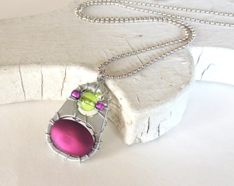 Soda Tab Pendant Necklace - silver, purple, apple green - for teens - soda pop tabs - upcycled/eco-friendly jewelry - under 20
