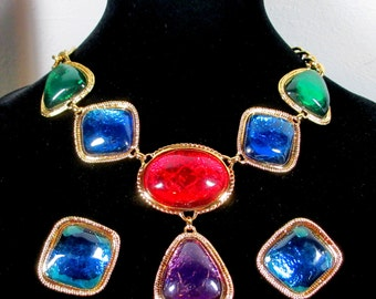 "Reduced Vintage Kenneth J. Lane for Avon "" CAPRIATI COLLECTION"" Necklace and Earrings, 1993 Book Piece, High End Runway Jewelry"