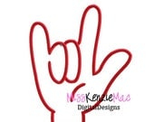 I Love You Sign Language Hand Machine Applique Embroidery Design, Mulitple Sizes