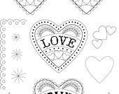 Love Hearts Ornaments & Birds Pattern Template DIY pdf file for Hand Embroidery Art