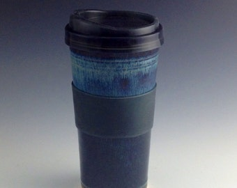 IN-STOCK Clay Travel Tumbler mug / Commuter Tumbler mug with silicone lid - Blue