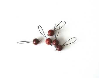 SALE - Bead Stitch Markers - snag free - red jasper stone 8mm round - set of 5