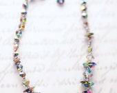 Vintage crystal necklace, vitrail crystal